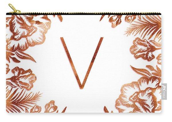 Letter V - Rose Gold Glitter Flowers Carry-all Pouch