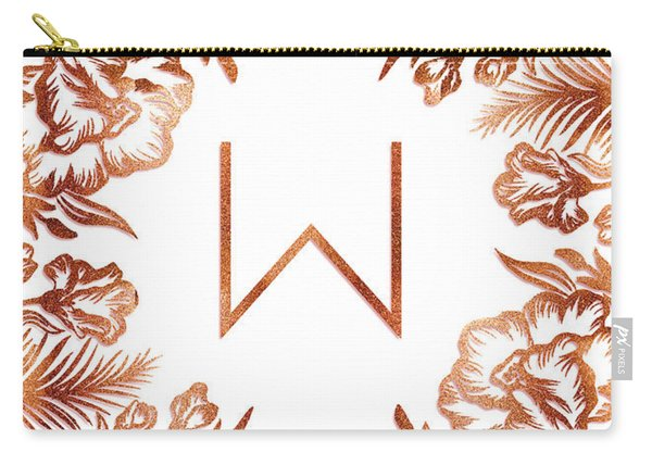 Letter W - Rose Gold Glitter Flowers Carry-all Pouch