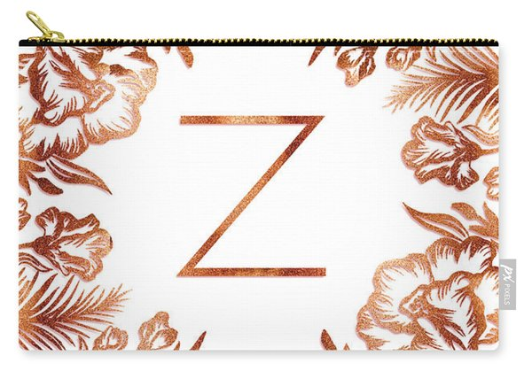 Letter Z - Faux Rose Gold Glitter Flowers Carry-all Pouch