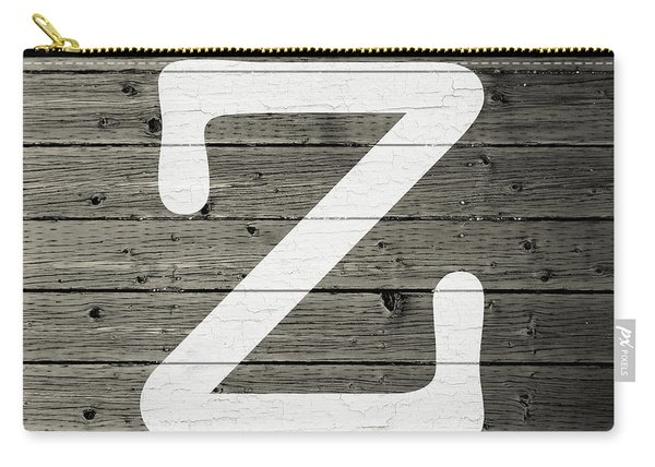 Letter Z White Paint Peeling From Wood Planks Carry-all Pouch