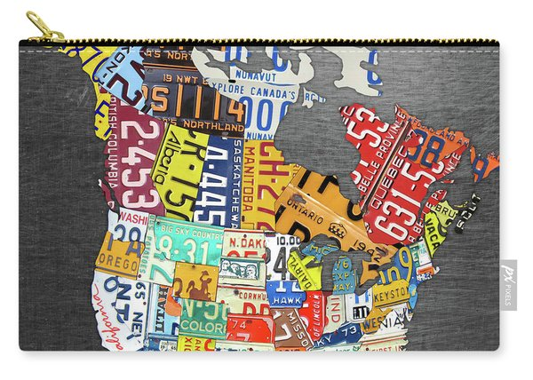 License Plate Map Of North America Canada And The United States On Gray Metal Carry-all Pouch