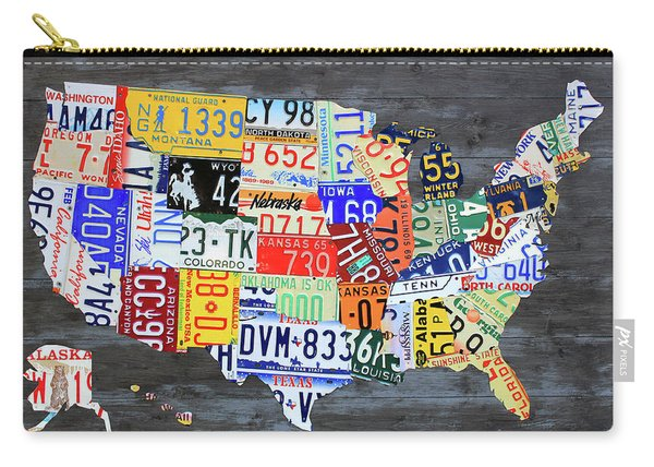 License Plate Map Of The United States Gray Edition 16 With Special Kodiak Bear Alaska Plate Carry-all Pouch
