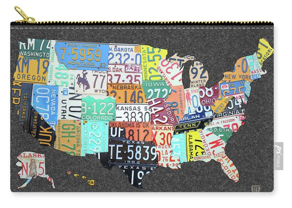 License Plate Map Of The United States On Gray Felt Large Format Sizing Carry-all Pouch