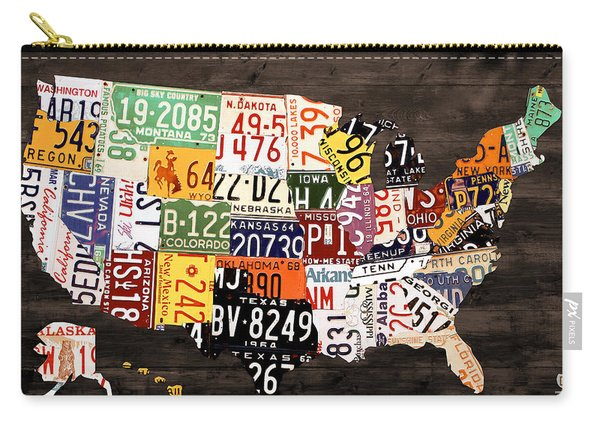 License Plate Map Of The United States - Warm Colors / Black Edition Carry-all Pouch