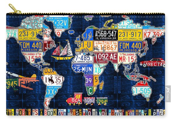 License Plate Map Of The World Travel Recycled Vintage Art With Augustine Quote Carry-all Pouch