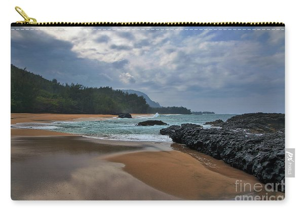 Carry-all Pouch featuring the photograph Life Is A Beach And Then You Die? Lumahai Beach, Kauai, Hawaii by Sam Antonio Photography