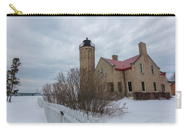 Lighthouse And Mackinac Bridge Winter Carry-all Pouch