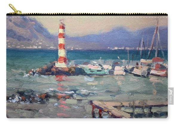 Lighthouse At Dilesi Harbor Greece Carry-all Pouch