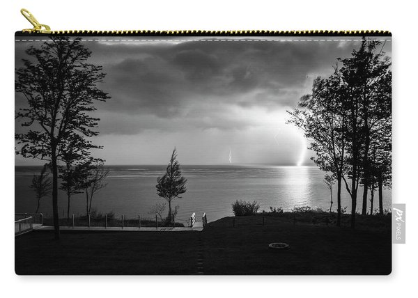 Carry-all Pouch featuring the photograph Lightning On Lake Michigan At Night In Bw by Mary Lee Dereske