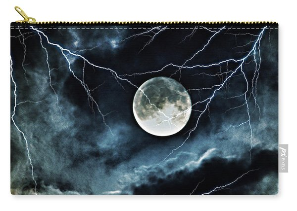 Lightning Sky At Full Moon Carry-all Pouch