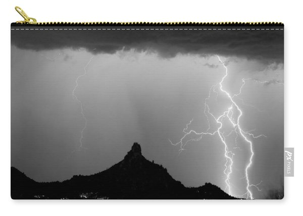 Lightning Thunderstorm At Pinnacle Peak Bw Carry-all Pouch