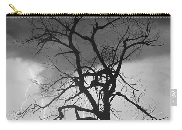 Lightning Tree Silhouette Portrait Bw Carry-all Pouch