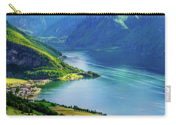 Carry-all Pouch featuring the photograph Lights And Shadows Of Sognefjord by Dmytro Korol