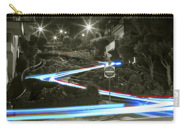 Lights On Lombard Black And White Carry-all Pouch