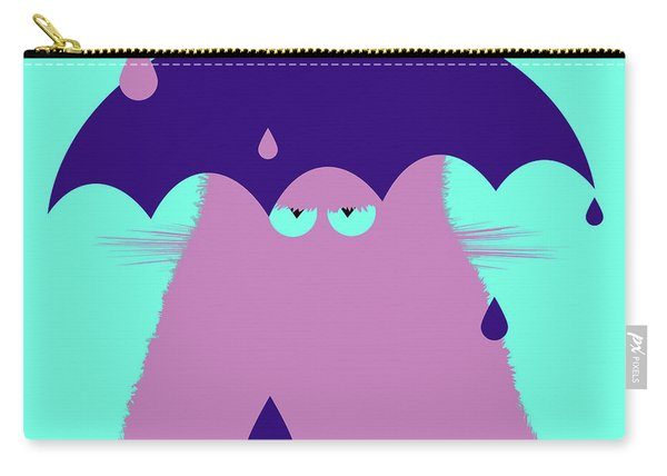 Lilac Cat With Umbrella Carry-all Pouch