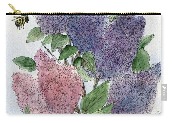 Lilacs And Bees Carry-all Pouch