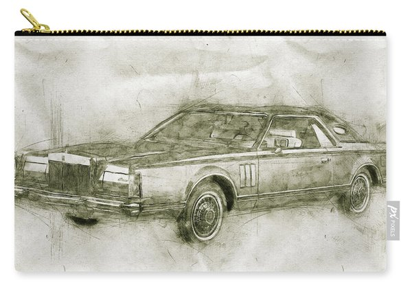 Lincoln Continental Mark V - 1977 - Automotive Art - Car Posters Carry-all Pouch