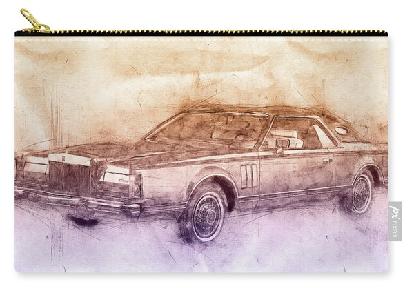 Lincoln Continental Mark V 2- 1977 - Automotive Art - Car Posters Carry-all Pouch