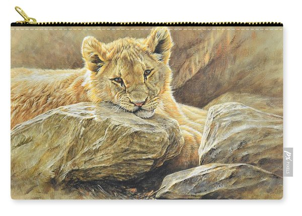 Carry-all Pouch featuring the painting Lion Cub Study by Alan M Hunt