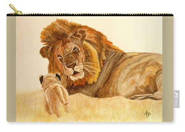 Carry-all Pouch featuring the painting Lion Watercolor by Angeles M Pomata
