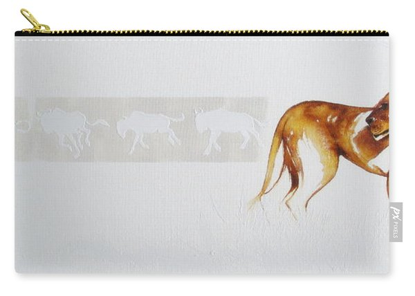 Lioness And Wildebeest Carry-all Pouch