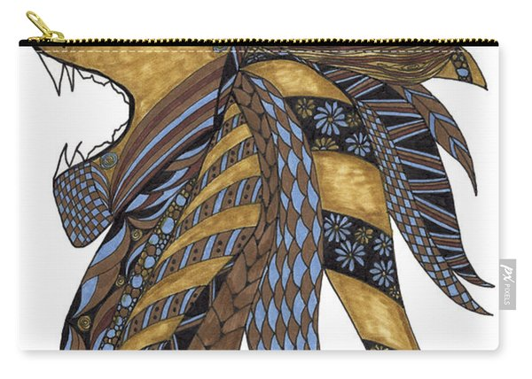 Carry-all Pouch featuring the drawing Roar by Barbara McConoughey