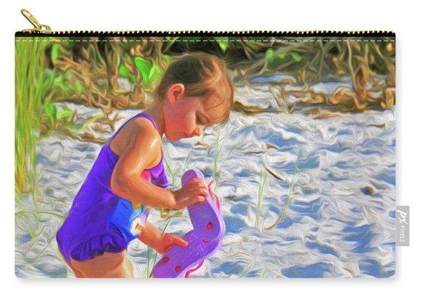 Little Beach Girl With Flip Flops Carry-all Pouch