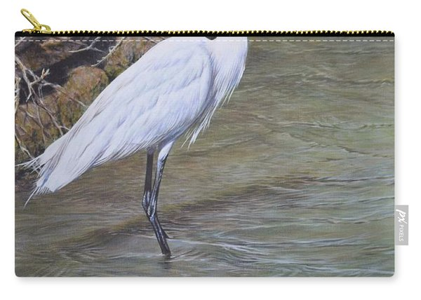 Carry-all Pouch featuring the painting Little Egret by Alan M Hunt