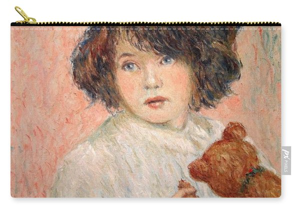 Little Girl With Bear Carry-all Pouch