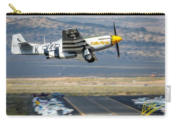 Carry-all Pouch featuring the photograph P51 Mustang Little Horse Gear Coming Up Friday At Reno Air Races 5x7 Aspect Signature Edition by John King