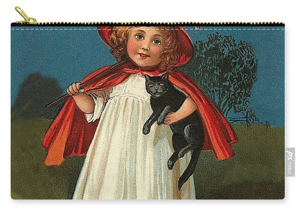 Little Witch Girl At Halloween Night Carry-all Pouch