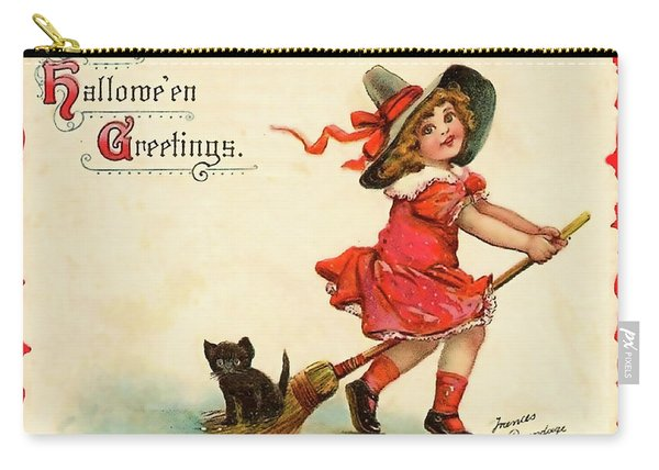 Little Witch Riding A Broom Carry-all Pouch