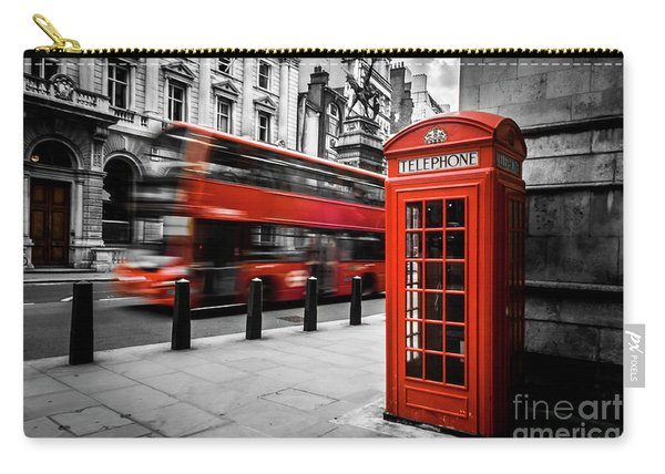 London Bus And Telephone Box In Red Carry-all Pouch