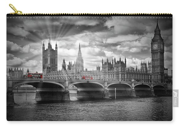 London Westminster Bridge And Red Busses Carry-all Pouch