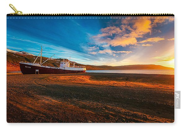 Lonely Boats On Beach, Romantic Sunset, Photo Carry-all Pouch