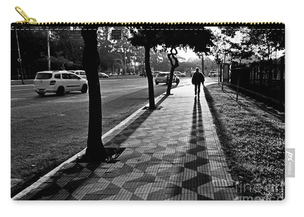Lonely Man Walking At Dusk In Sao Paulo Carry-all Pouch