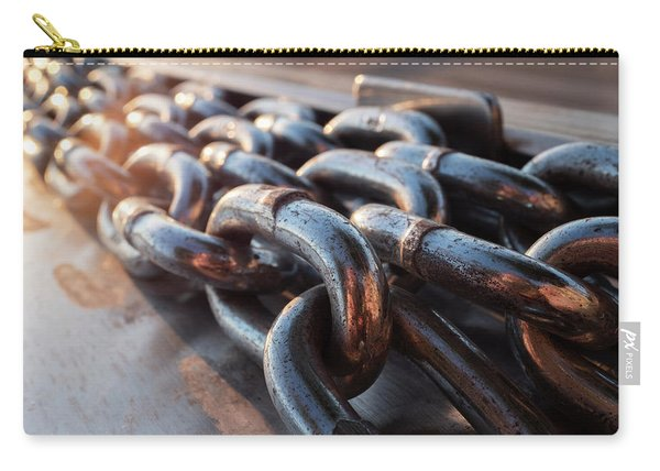 Long Metal Chains On A Boat Dock Near The Water In Green Bay Wisconsin Carry-all Pouch