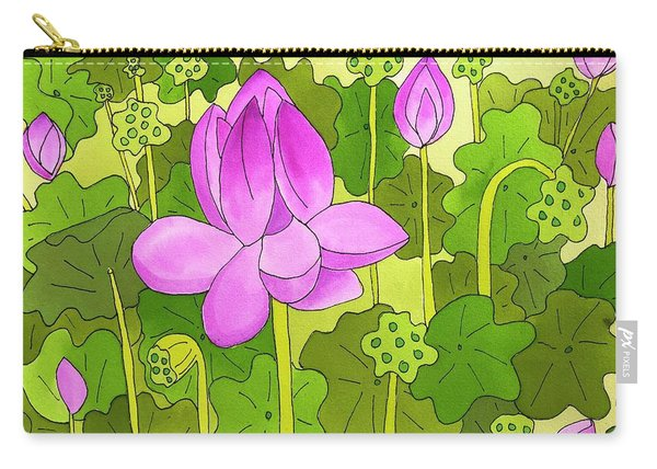 Carry-all Pouch featuring the painting Lotus And Waterlilies by Suzy Mandel-Canter