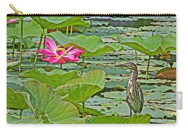 Lotus Blossom And Heron Carry-all Pouch