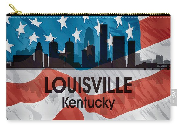 Louisville Ky American Flag Squared Carry-all Pouch