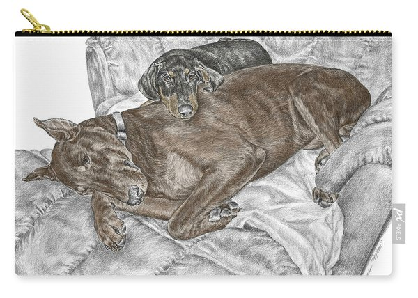 Lounge Lizards - Doberman Pinscher Puppy Print Color Tinted Carry-all Pouch