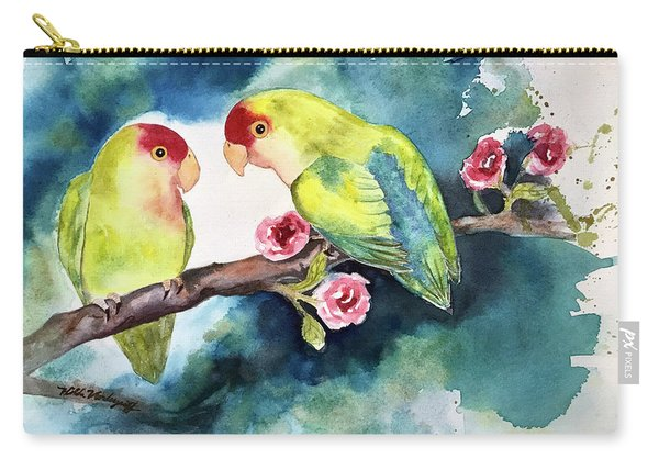 Love Birds On Branch Carry-all Pouch