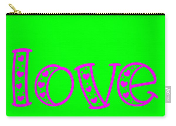 Love In Magenta And Green Carry-all Pouch