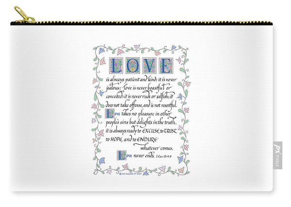 Love Is Always Patient-with Border Carry-all Pouch