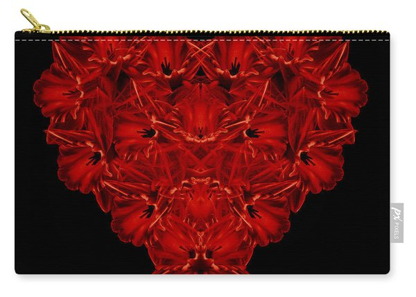 Love Red Floral Heart Carry-all Pouch