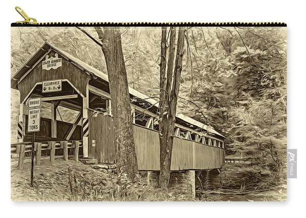 Lower Humbert Covered Bridge - Paint Sepia Carry-all Pouch