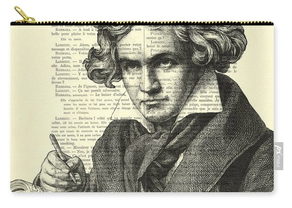 Ludwig Van Beethoven Portrait Black And White Carry-all Pouch
