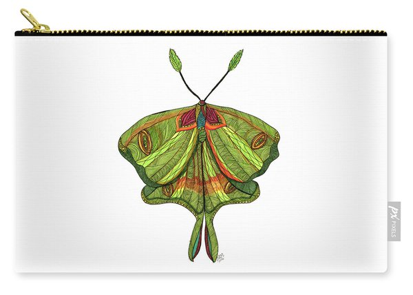 Carry-all Pouch featuring the drawing Luna Moth by Barbara McConoughey