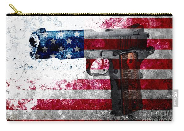 M1911 Colt 45 And American Flag On Distressed Metal Sheet Carry-all Pouch