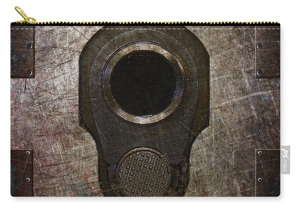 M1911 Muzzle On Rusted Riveted Metal Dark Carry-all Pouch